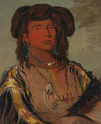 One Horn Painting - Ha-won-je-tah, One Horn, Head Chief Of The Miniconjou Tribe by George Catlin