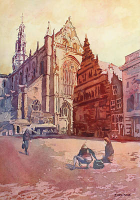 Netherlands Painting - Haarelm Kirk Square by Jenny Armitage