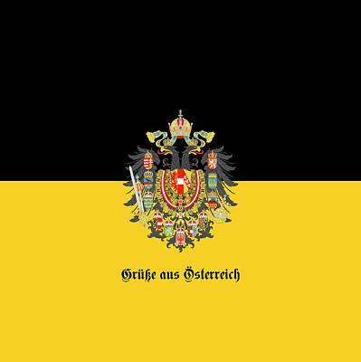 Digital Art - Habsburg Flag With Imperial Coat Of Arms 1 Greeting Card by Helga Novelli