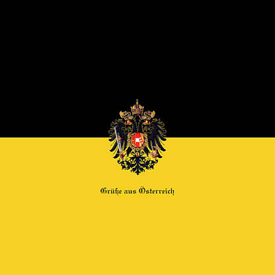 Digital Art - Habsburg Flag With Imperial Coat Of Arms 3 Greeting Card by Helga Novelli