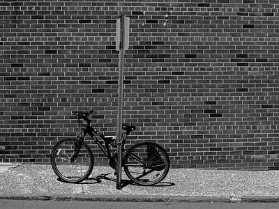 Photograph - Hackensack, Nj - Bricks And Bicycle Bw 2018 by Frank Romeo