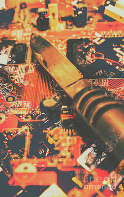 Hacking Knife On Circuit Board Art Print by Jorgo Photography - Wall Art Gallery