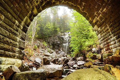 Photograph - Hadlock Falls Under Carriage Road Arch by Jeff Folger