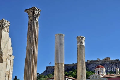 Photograph - Hadrian' S Library And Acropolis by George Atsametakis