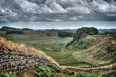 Northumbrian Photograph - Hadrian's Wall Looking East. by Phill Thornton