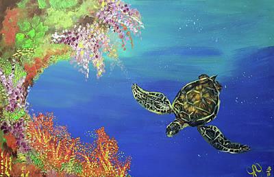 Green Sea Turtle Painting - Haggan Hugua  by Jessica Perez-Jackson
