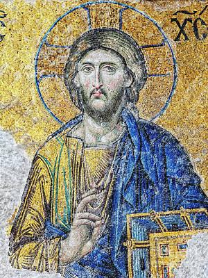Photograph - Hagia Sofia Christ Mosaic 36x48 by Antony McAulay