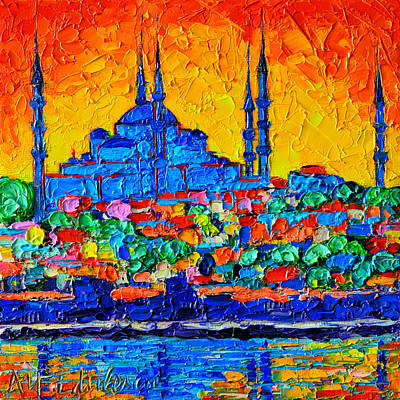 Hagia Sophia At Sunset Istanbul Abstract Cityscape Palette Knife Oil Painting By Ana Maria Edulescu Original