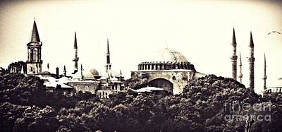 Photograph - Hagia Sophia Panorama Sepia by Sarah Loft