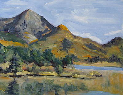 Zanobia Painting - Hahns Peak From Rainbow Point Steamboat Lake State Park Colorado by Zanobia Shalks