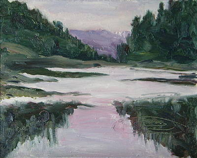 Four Seasons Tree Nature Summer Painting - Hahns Peak Lake Eve Steamboat Springs Colorado by Zanobia Shalks