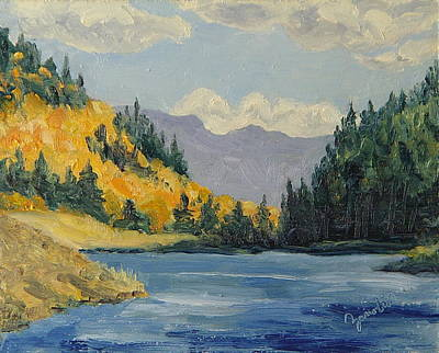 Zanobia Painting - Hahns Peak Lake Fall Steamboat Springs Colorado by Zanobia Shalks