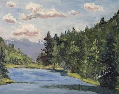 Four Seasons Tree Nature Summer Painting - Hahns Peak Lake Morn Steamboat Springs Colorado by Zanobia Shalks