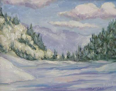 Four Seasons Tree Nature Summer Painting - Hahns Peak Lake Winter Steamboat Springs Colorado by Zanobia Shalks