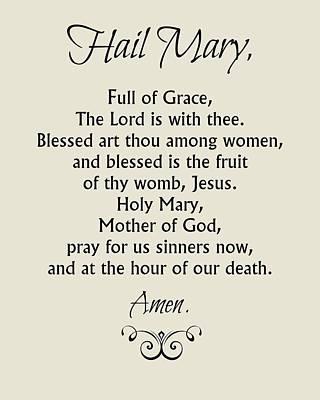 Rosary Digital Art - Hail Mary Prayer by Classically Printed