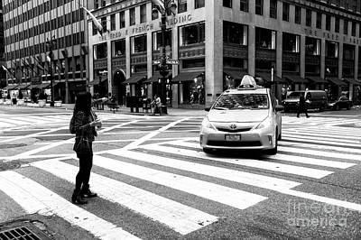 Hailing A Cab In Nyc Art Print