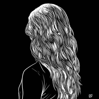 Drawing - Hair In Black by Giuseppe Cristiano