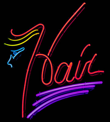 Hair In Neon Art Print