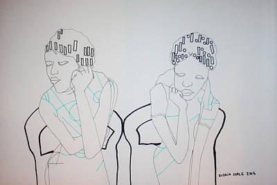 Drawing - Hair Salon Blues by Gloria Ssali