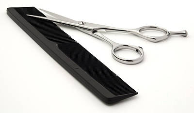 Scissors Photograph - Hair Scissors And Comb by Blink Images
