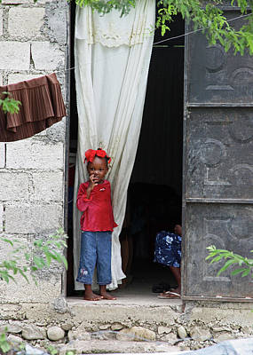 Photograph - Haitian Girl In Red And Blue by Lon Dittrick