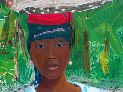 Jacmel Painting - Haitian Woman   2 by Nicole Jean-Louis
