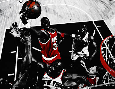 Patrick Ewing Mixed Media - Hakeem Olajuwon Gimme Dat by Brian Reaves
