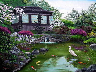 Egret Landscape Painting - Hakone Gardens Pond In The Spring by Laura Iverson