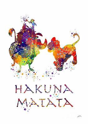 Baby Digital Art - Hakuna Matata Watercolor Art Print  by Svetla Tancheva