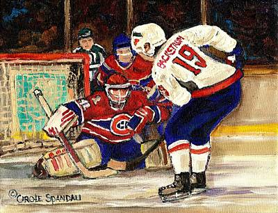 Halak Blocks Backstrom In Stanley Cup Playoffs 2010 Art Print by Carole Spandau