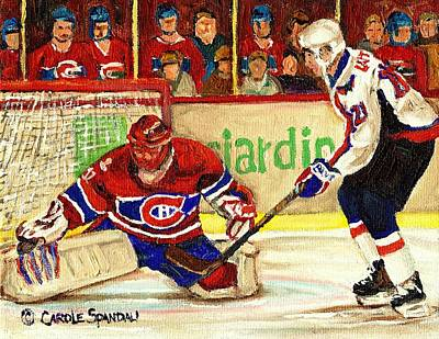 Hockey In Montreal Painting - Halak Makes Another Save by Carole Spandau