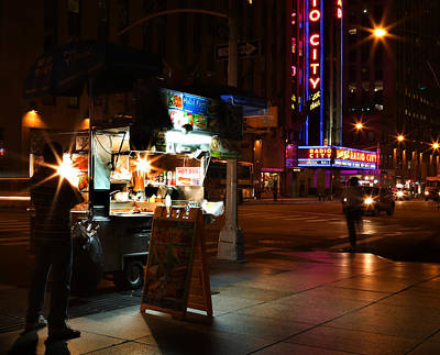 Halal Vendor At Radio City Music Hall Art Print by Lee Dos Santos