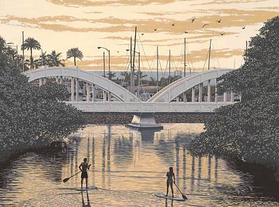 Surfer Girl Painting - Haleiwa Bridge by Andrew Palmer