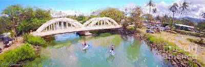 Haleiwa Digital Art - Haleiwa Bridge Hawaii by Carl Gouveia