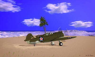 Haleiwa Digital Art - Haleiwa Field, Hi 12/7/41 by Ken Thompson