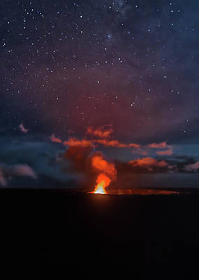 Art Print featuring the photograph Halemaumau Crater At Night by Susan Rissi Tregoning