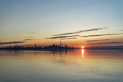 Photograph - Half A Sunrise - Toronto Skyline From Across Silky Calm Lake Ontario by Georgia Mizuleva