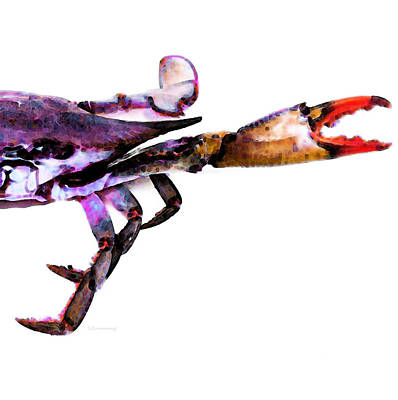 New Orleans Painting - Half Crab - The Right Side by Sharon Cummings