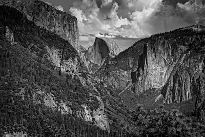 Half Dome And El Capitan In Black And White Art Print