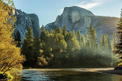 Photograph - Half Dome And Merced River Autumn Sunrise by Jay Moore