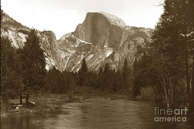Photograph - Half Dome And Merced River Yosemite Valley Circa 1900 by California Views Mr Pat Hathaway Archives
