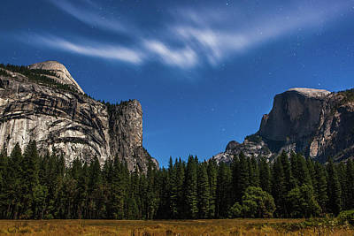 Half Dome And Moonlight - Yosemite Art Print