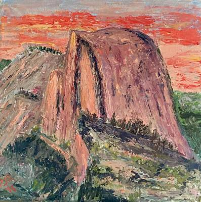 Half Dome Painting - Half Dome At Sunset by Peggy Rockey