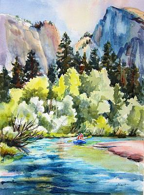 Half Dome Painting - Half Dome From The Merced River by Lynn Marit Peterson
