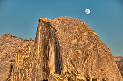 Half Dome Full Moon Rising Art Print