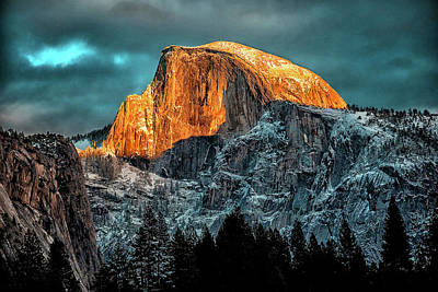 Yosemite National Park Mixed Media - Half Dome Glow - Yosemite by Dave Lee