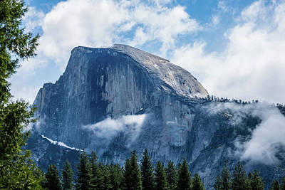 Half Dome In The Clouds Art Print