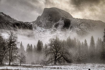 Half Dome In Winter Art Print by Connie Cooper-Edwards