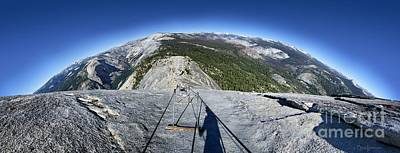 Maps Maps And More Maps - Half Dome Looking Down from the Cables Globe View- Yosemite by Bruce Lemons