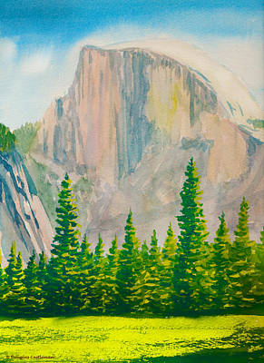 Painting - Half Dome Meadow With Trees by Douglas Castleman